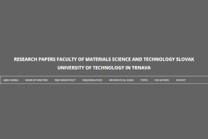 Scientific journal Research papers Faculty of Materials Science and Technology